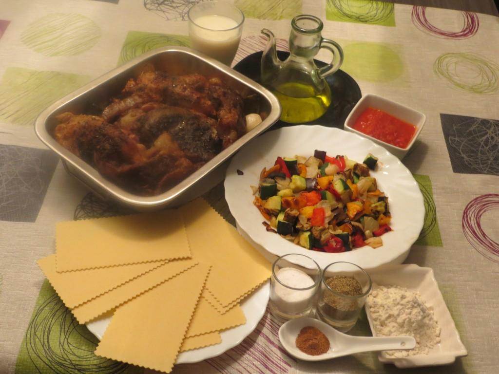ingredientes lasaña de carne y verduras