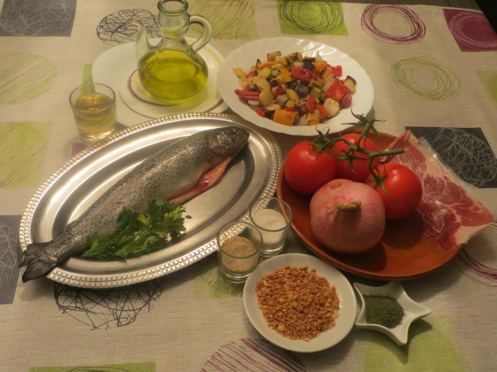 ingredientes trucha rellena con jamón y verduras