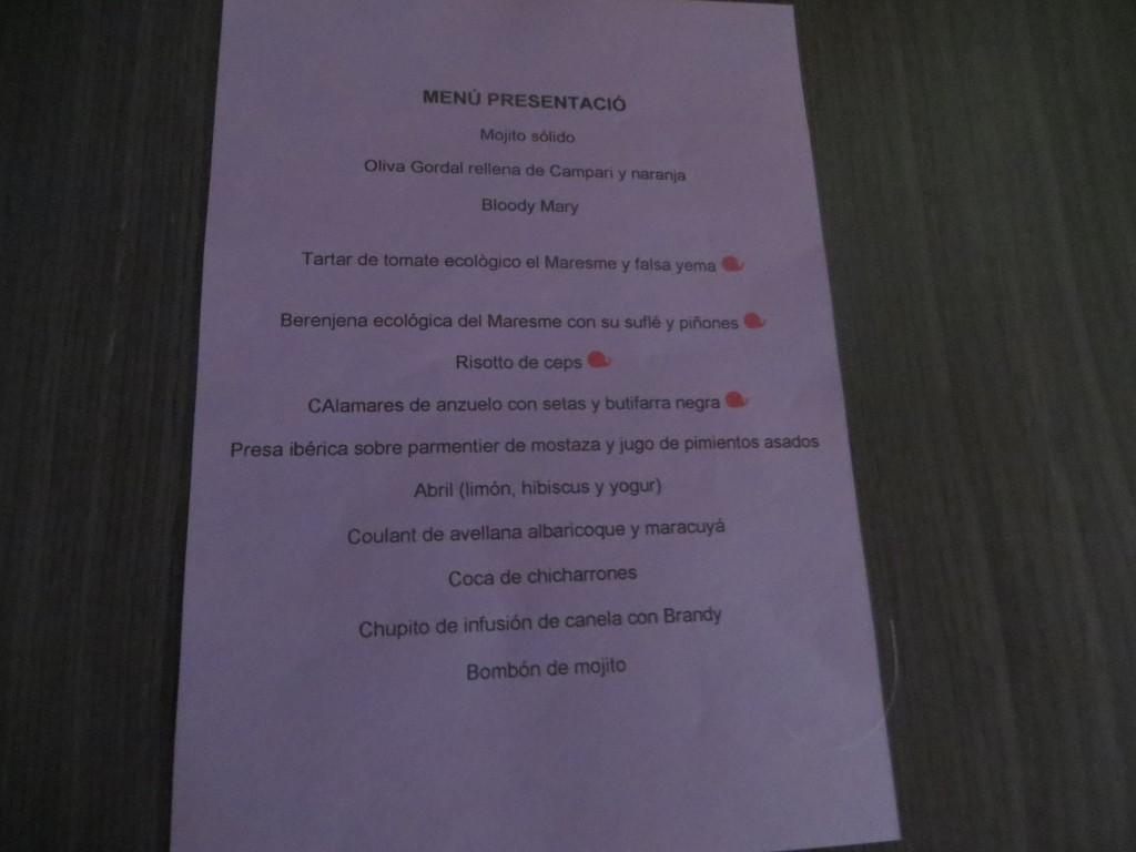 carta del menú presentación