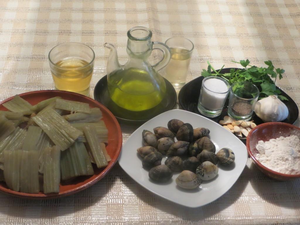 ingredientes cardo con almejas en salsa verde