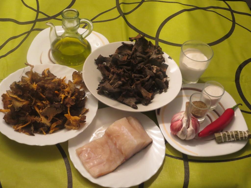 ingredientes bacalao confitado con trompeta de los muertos y amarilla