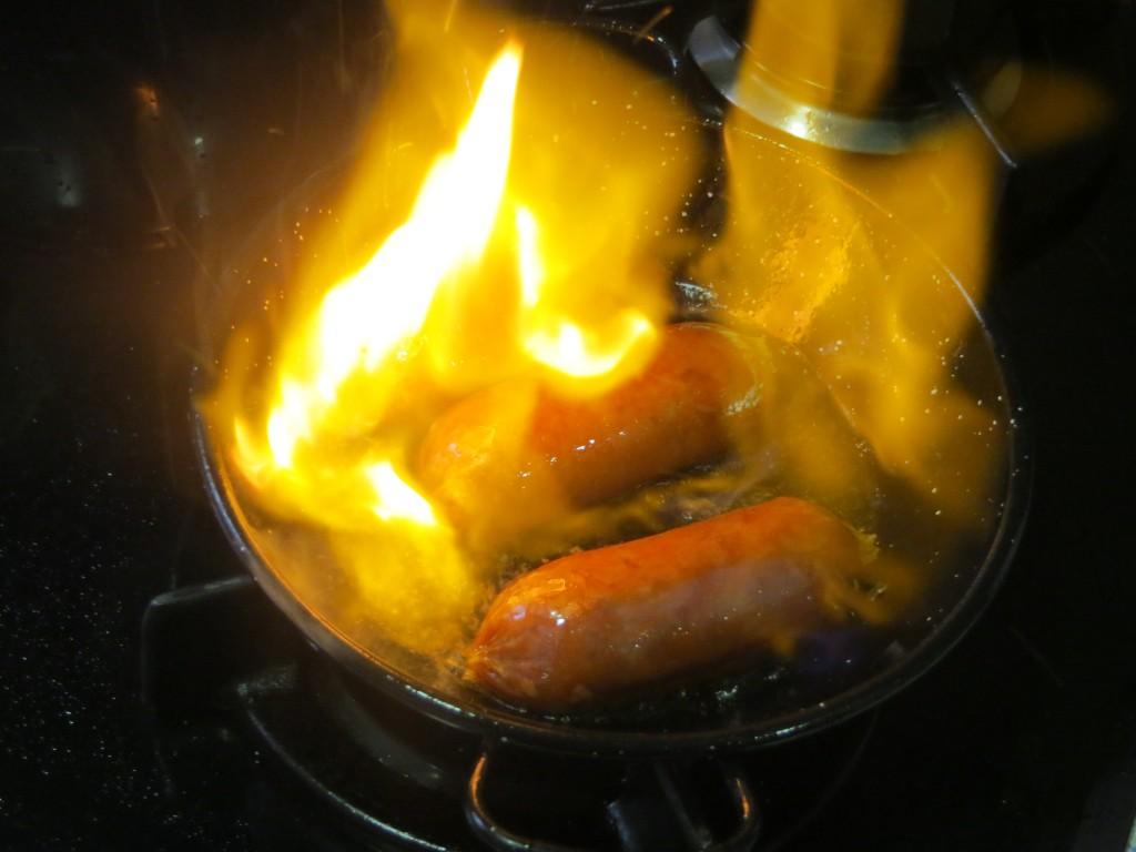 flambeado de los chorizos