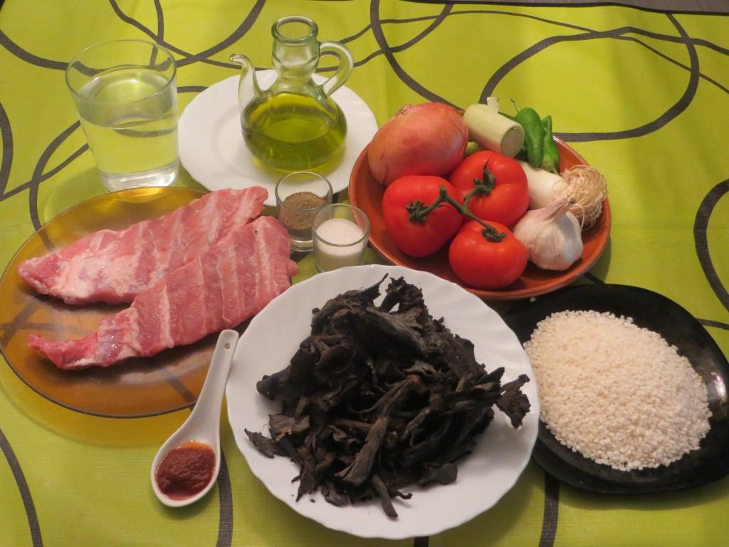 ingredientes arroz con costillas y trompetas negras