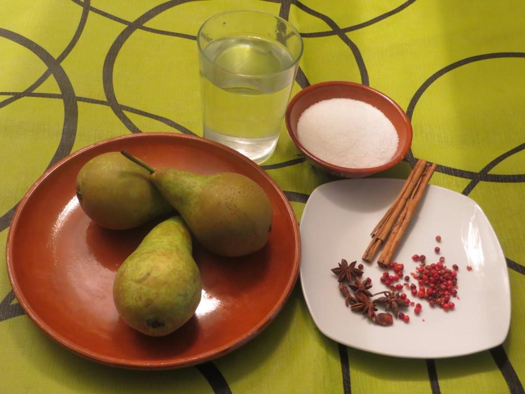 ingredientes de las peras en almíbar