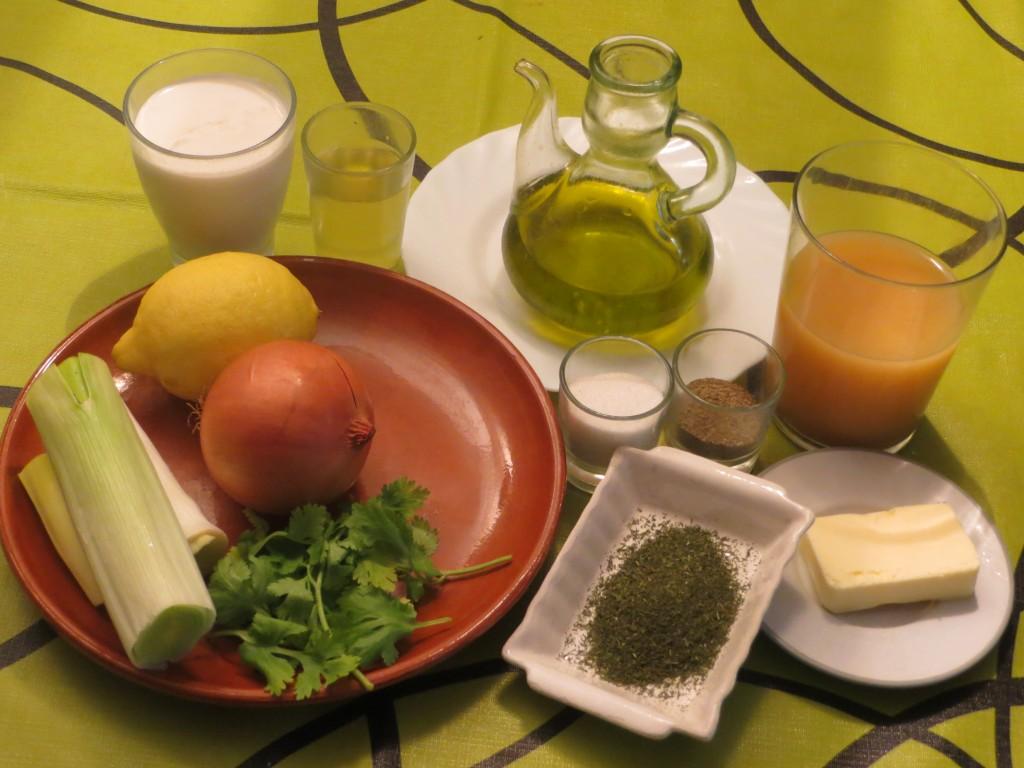 ingredientes salsa de puerro, cilantro y eneldo