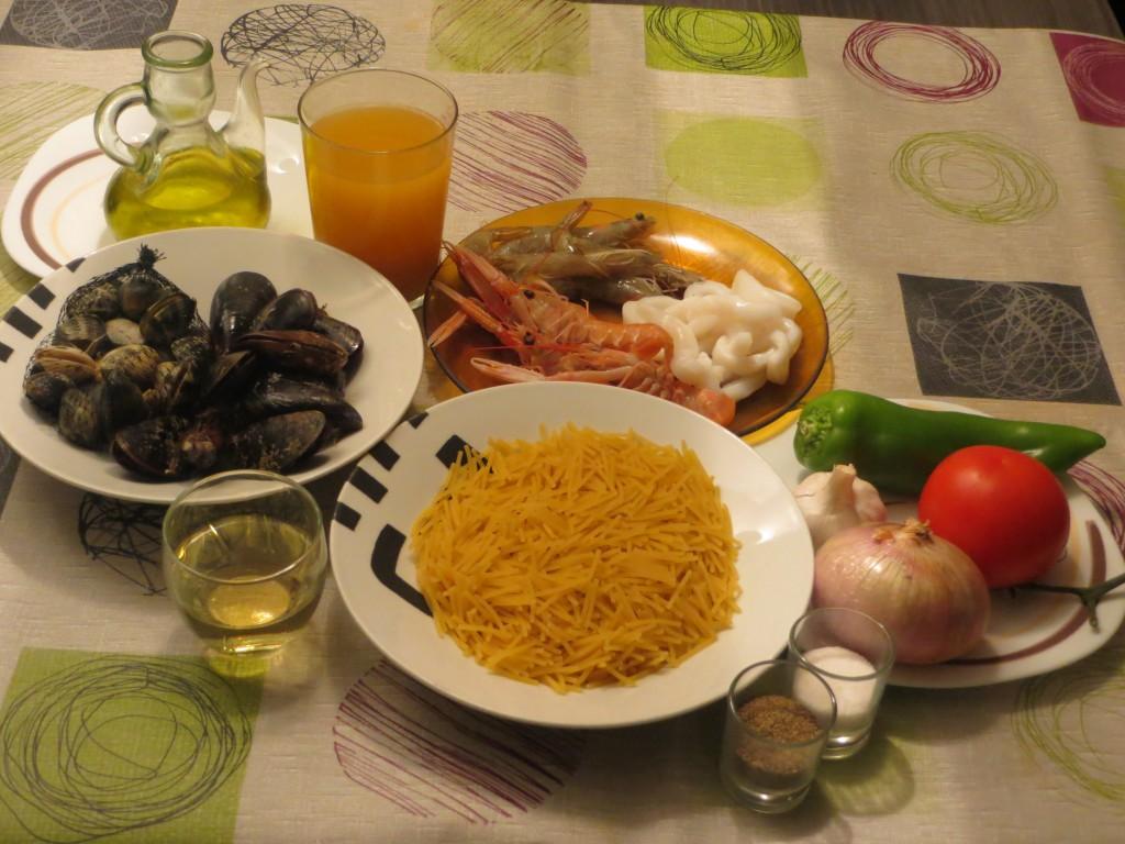ingredientes de los fideos a la marinera