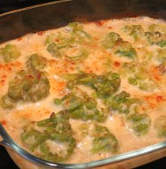 brócoli gratinado con bechamel y roquefort