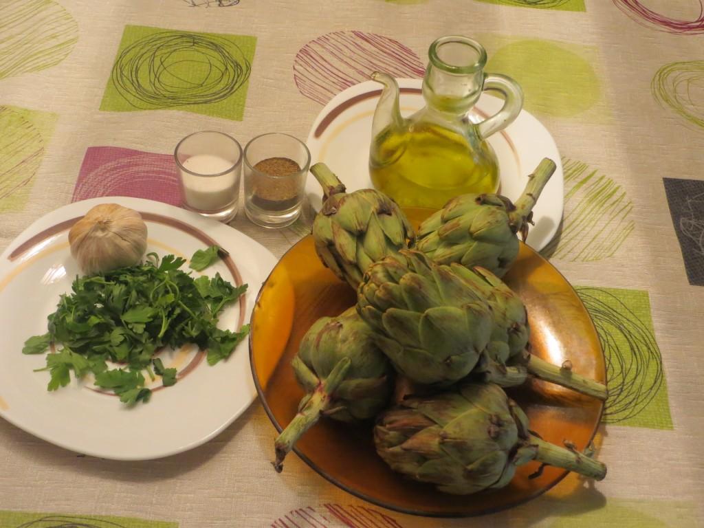 ingredientes alcachofas asadas con ajo y perejil