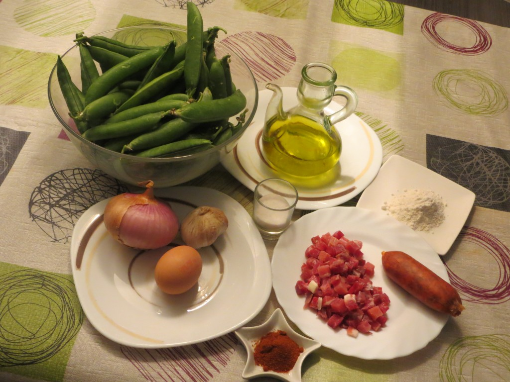 ingredientes guisantes con jamón, chorizo y huevo duro