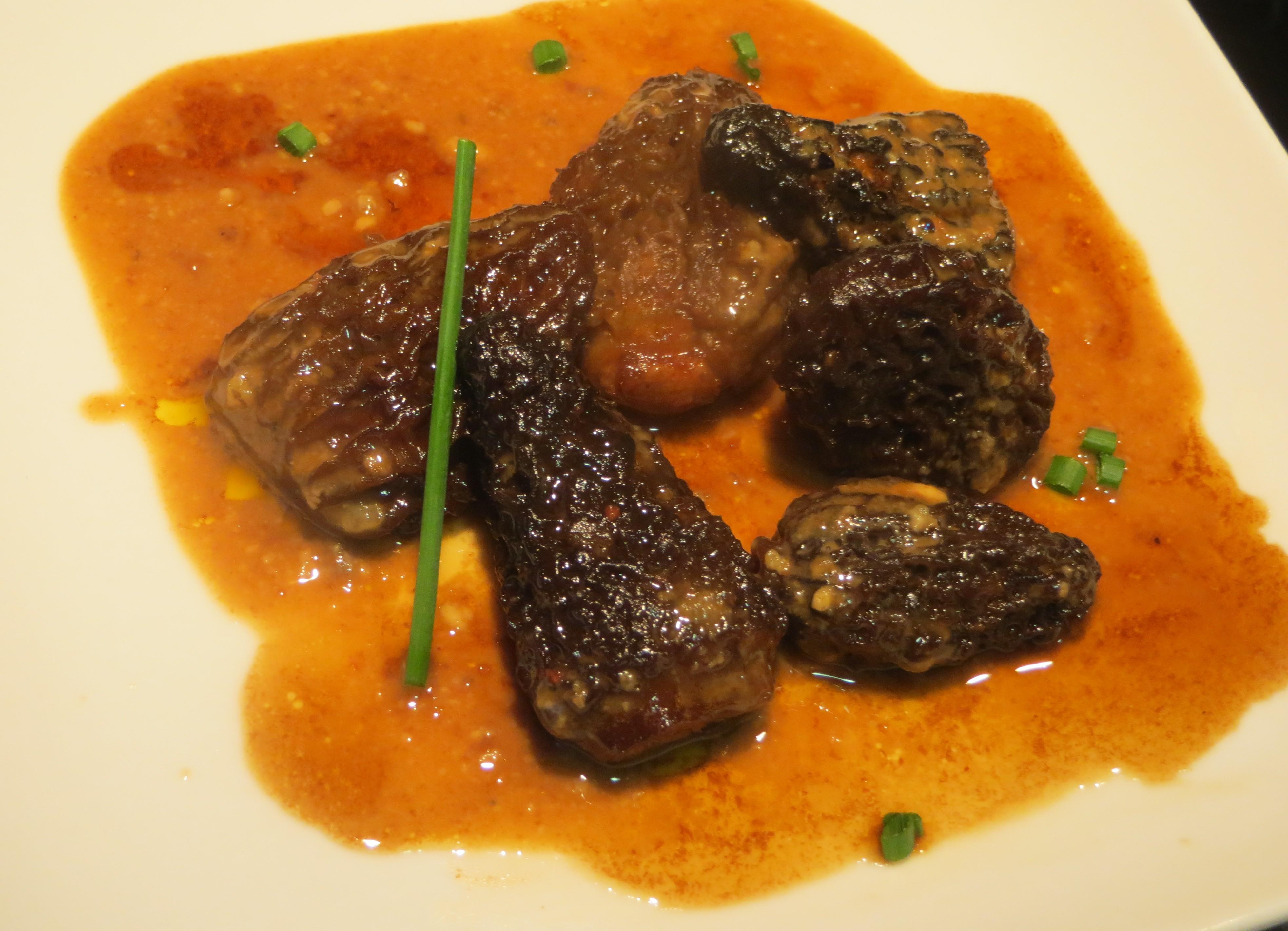 colmenillas rellenas de foie con reducción de Pedro Ximénez