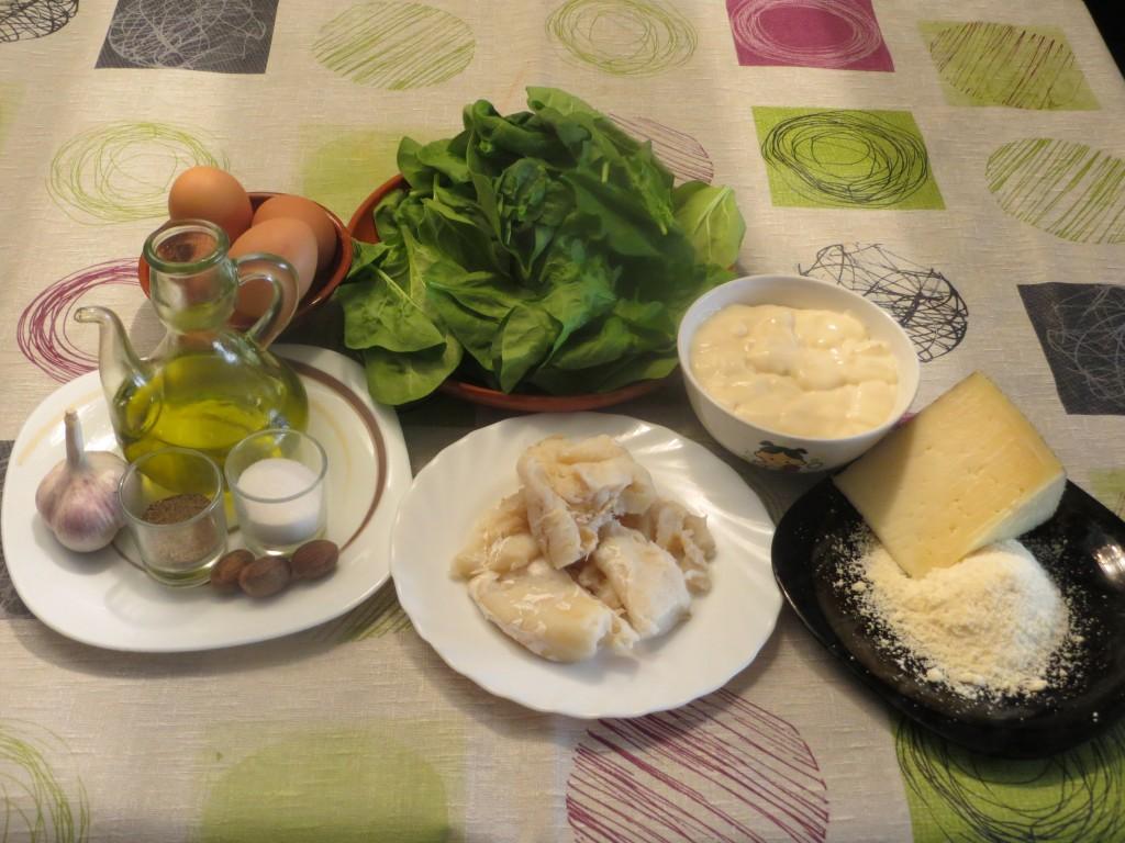 ingredientes espinacas con bacalao y bechamel
