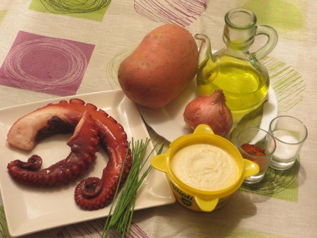 ingredientes pulpo con patatas y alioli