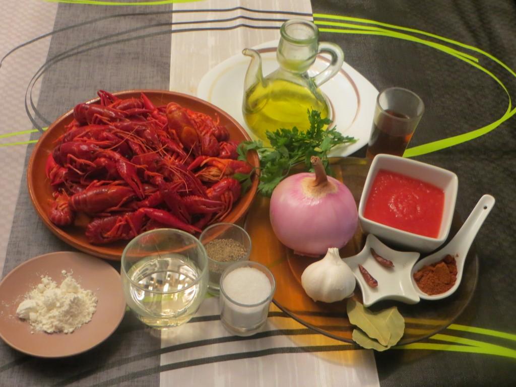 ingredientes cangrejos de río en salsa