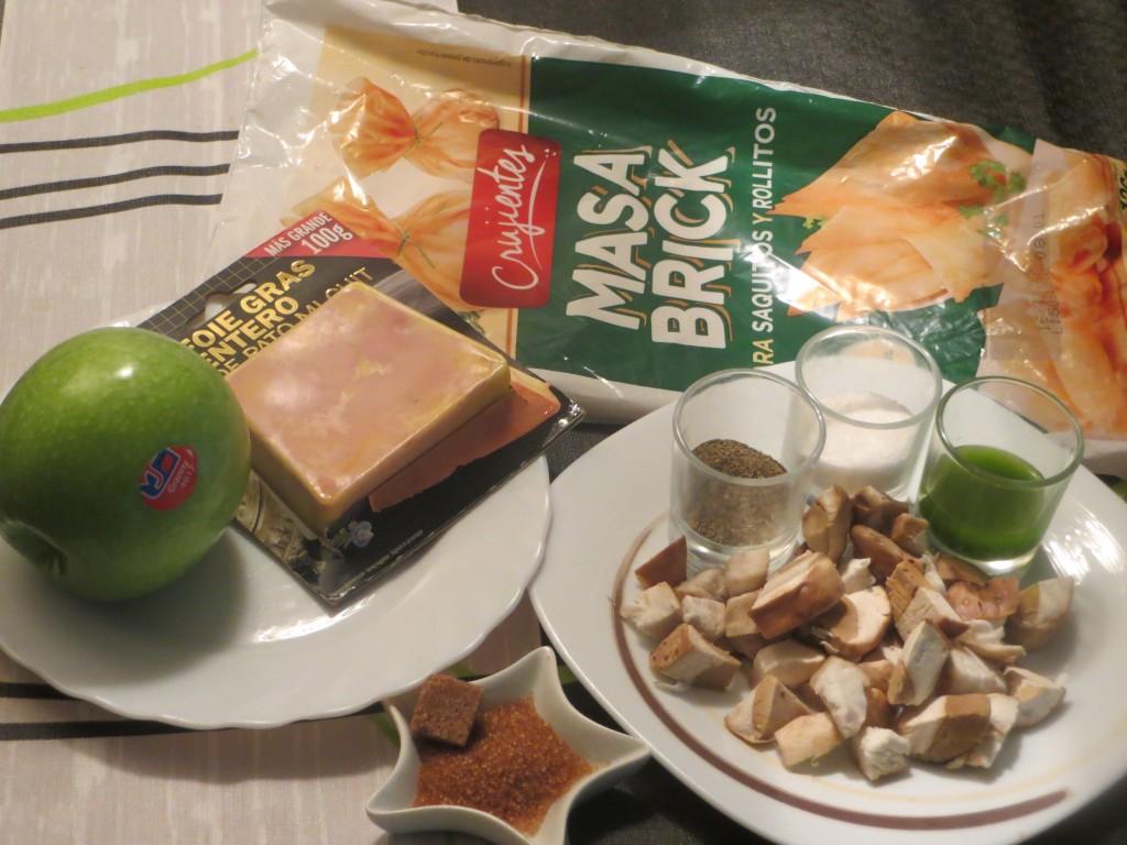 ingredientes rollos de boletus, foie micuit y manzana