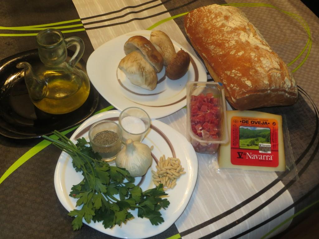 ingredientes montadito de setas con queso y jamón