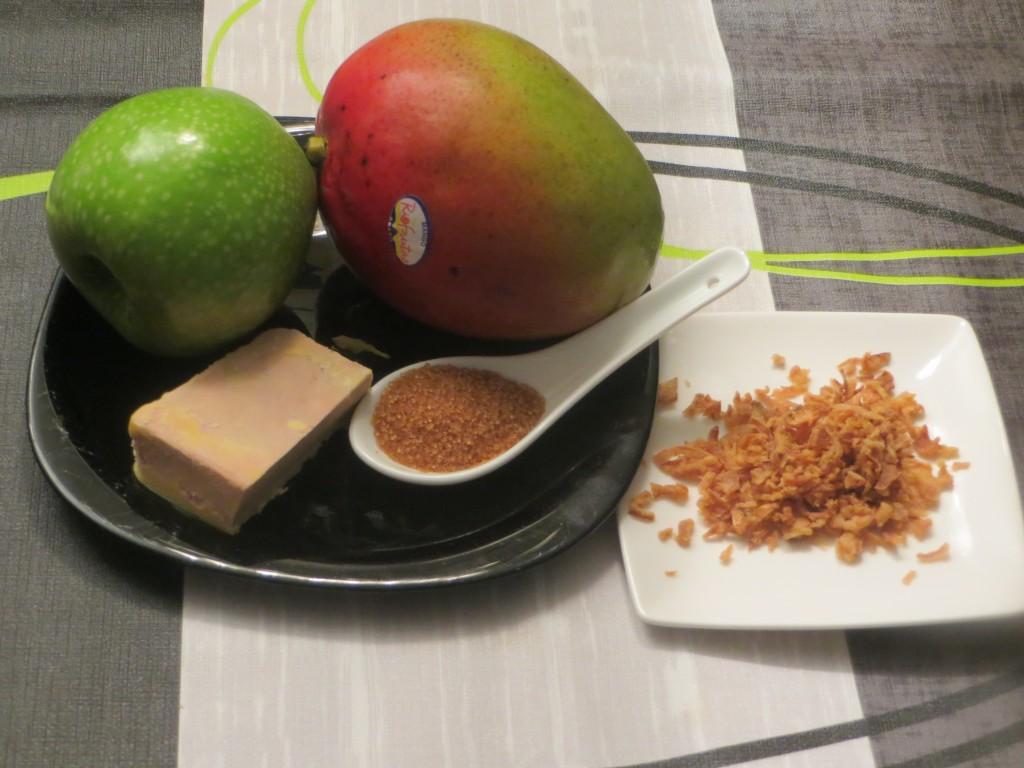 ingredientes bocadito de mango, foie y manzana