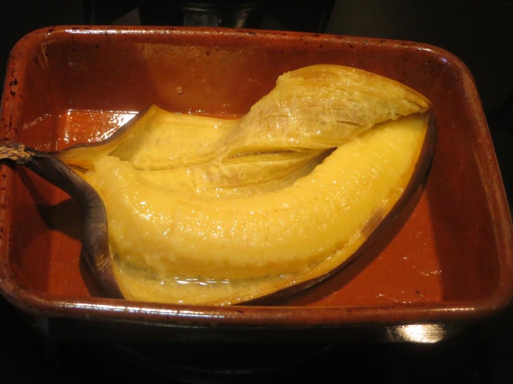 plátano asado pelado