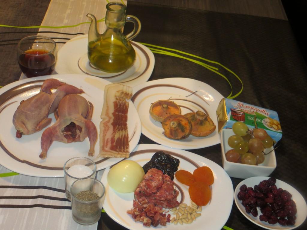 ingredientes codornices con salsa de arándanos