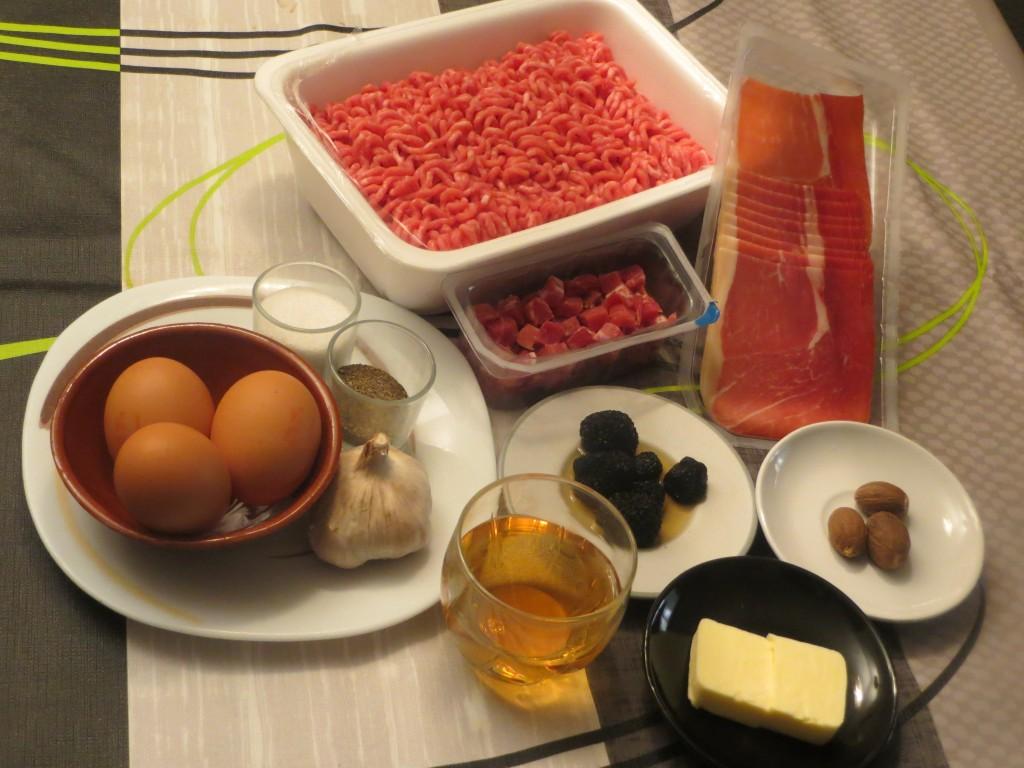 ingredientes pastel de carne con jamón y trufa