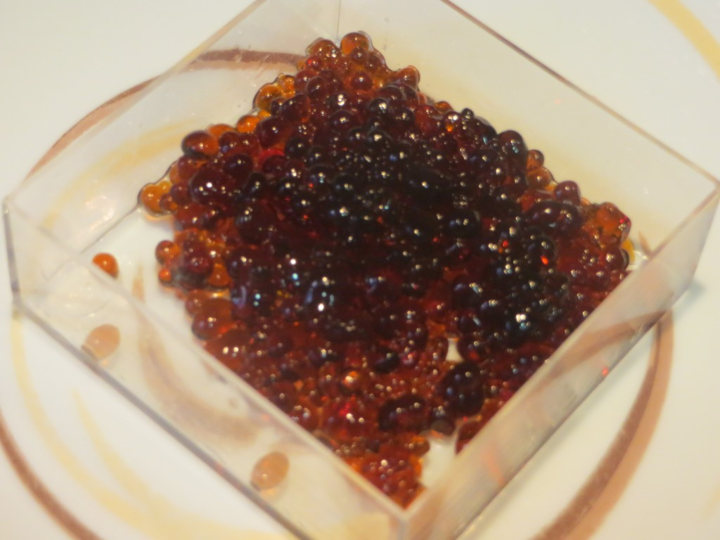esferas de caviar de Pedro Ximenez