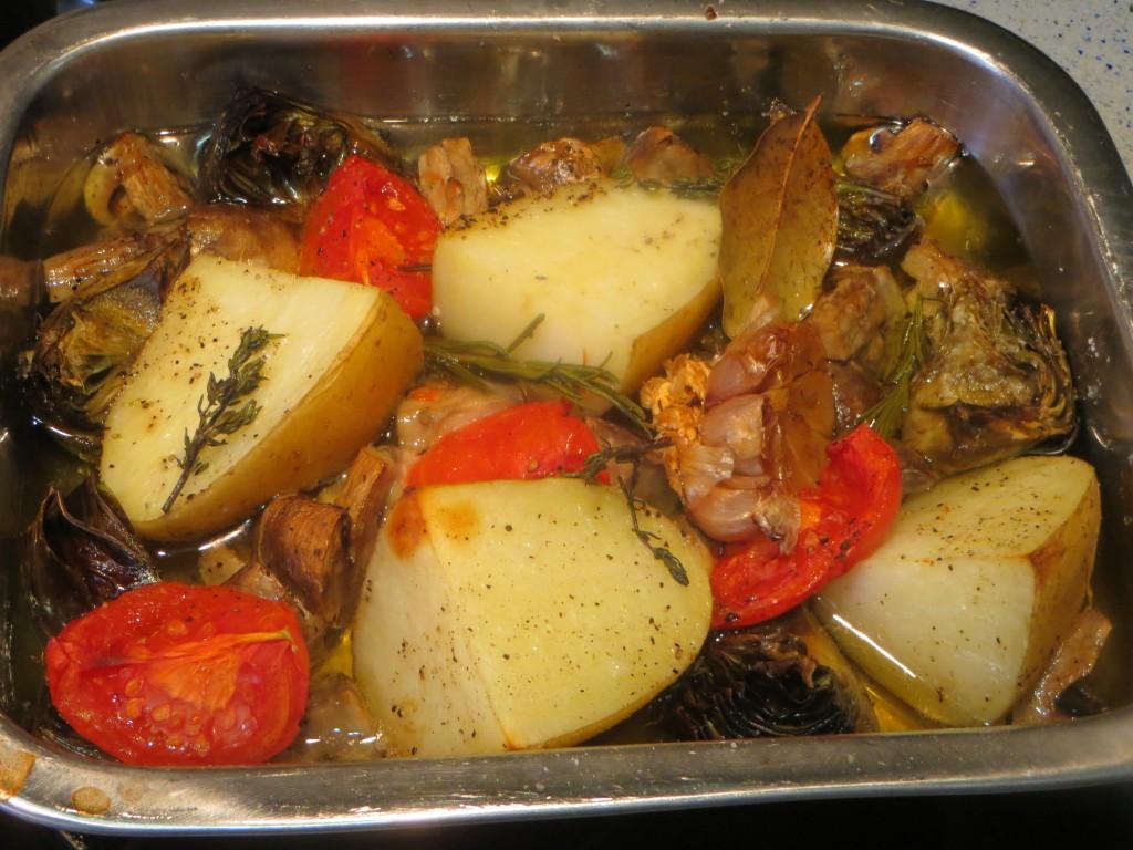 verduras a medio asar