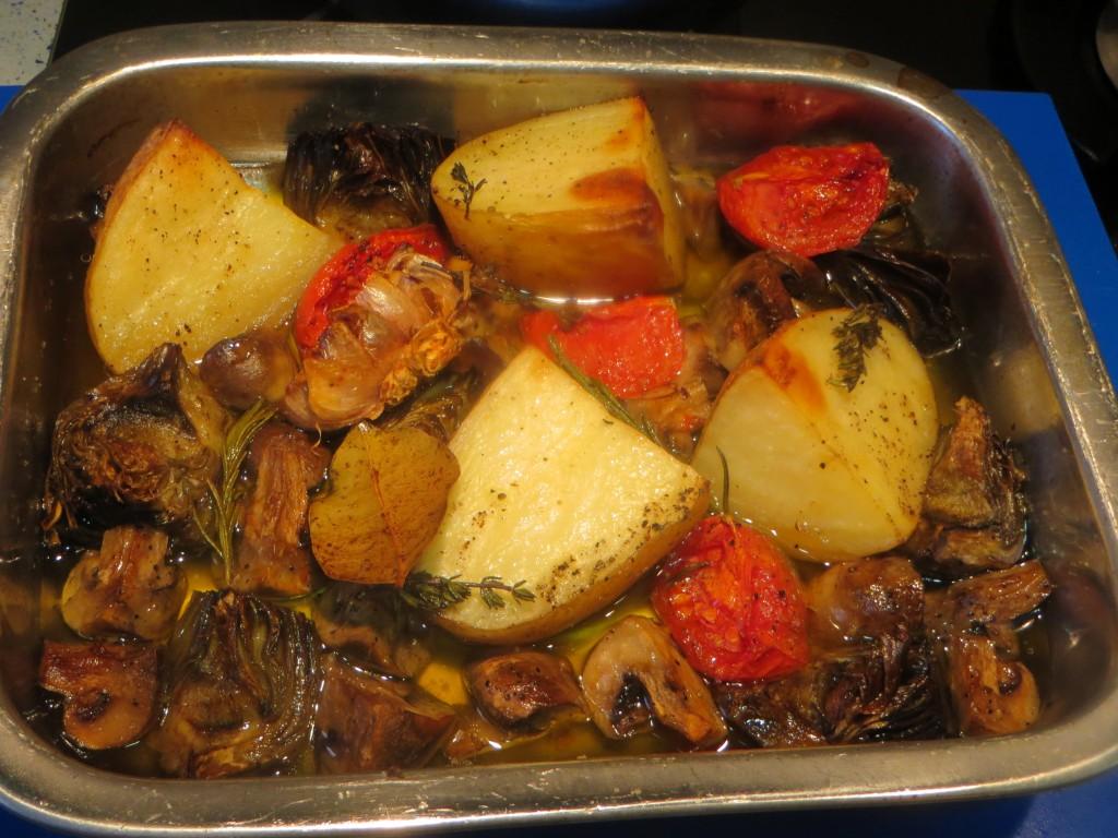 verduras acabadas de asar