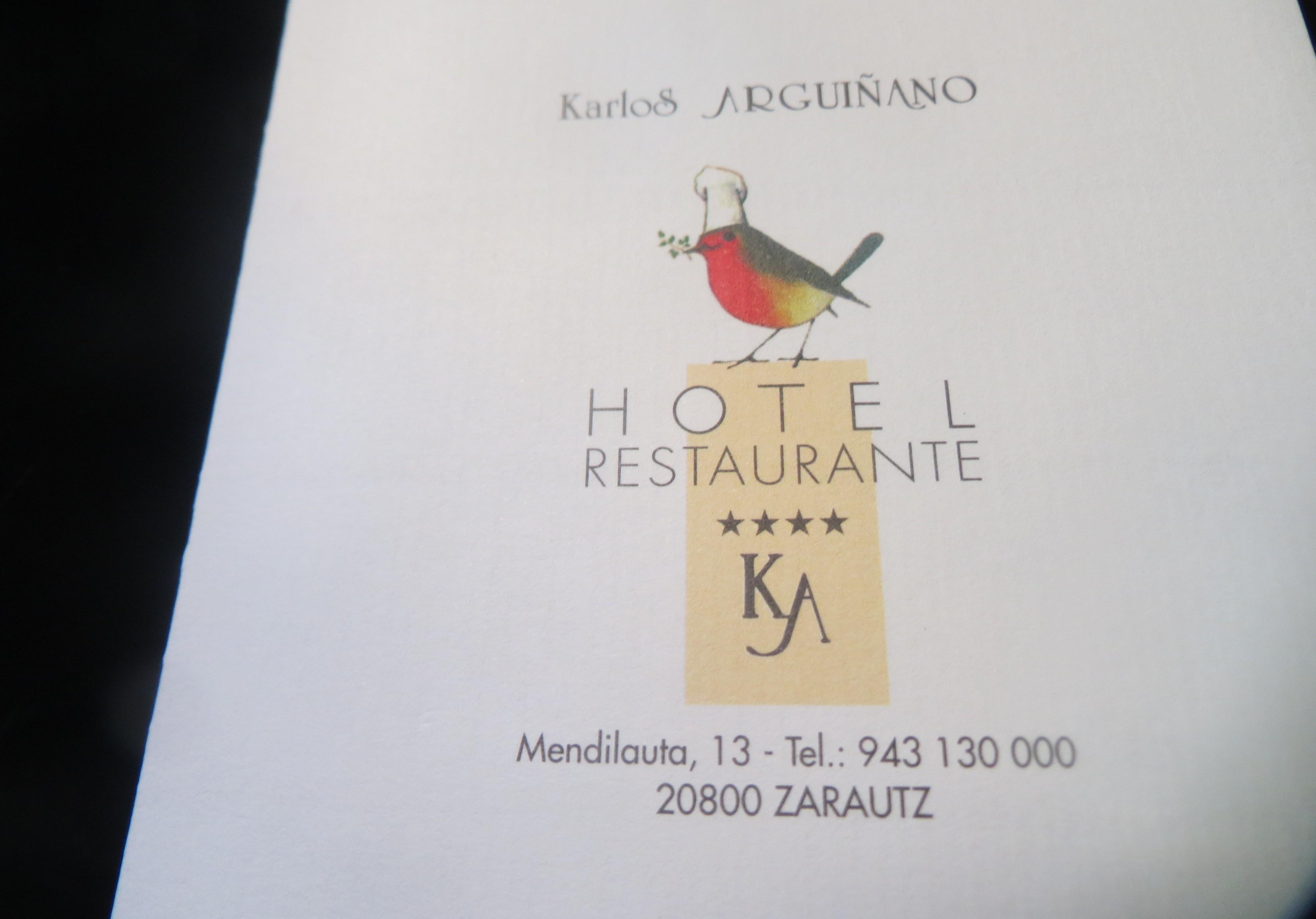 Portada tarjeta del Menú degustación, Restaurante Karlos Arguiñano