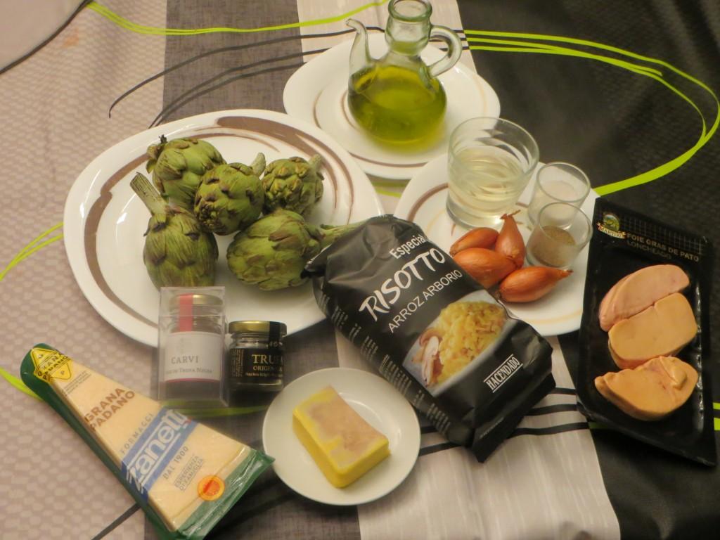 ingredientes risotto trufado con foie y alcachofas