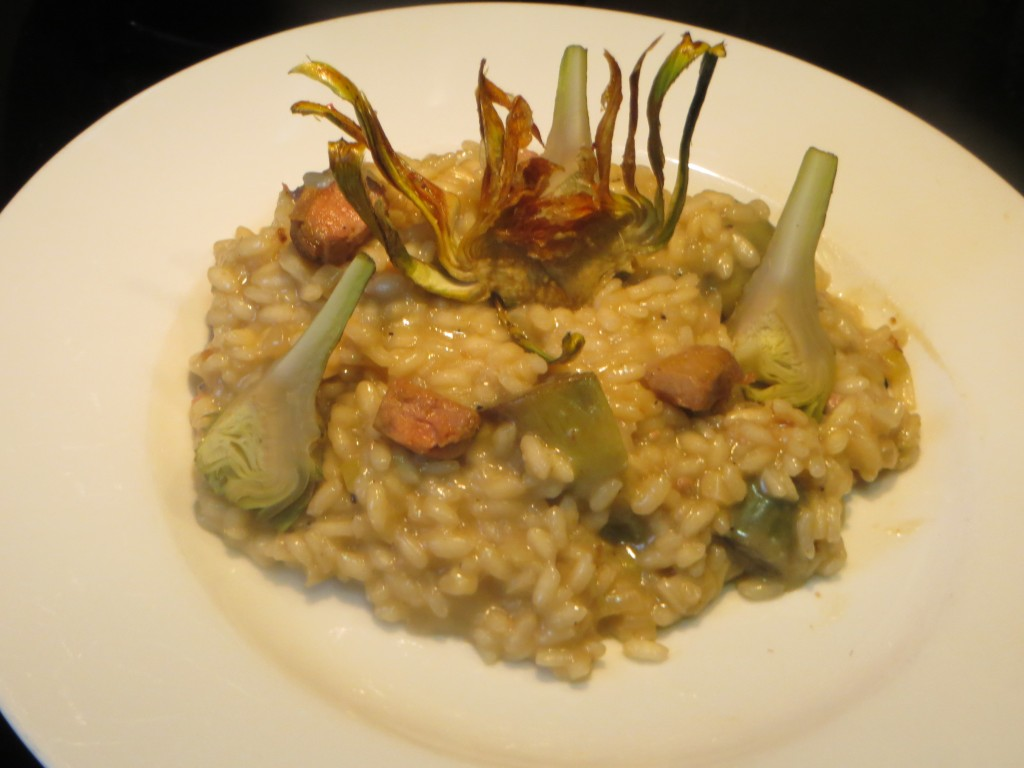 risotto trufado de foie y alcachofas