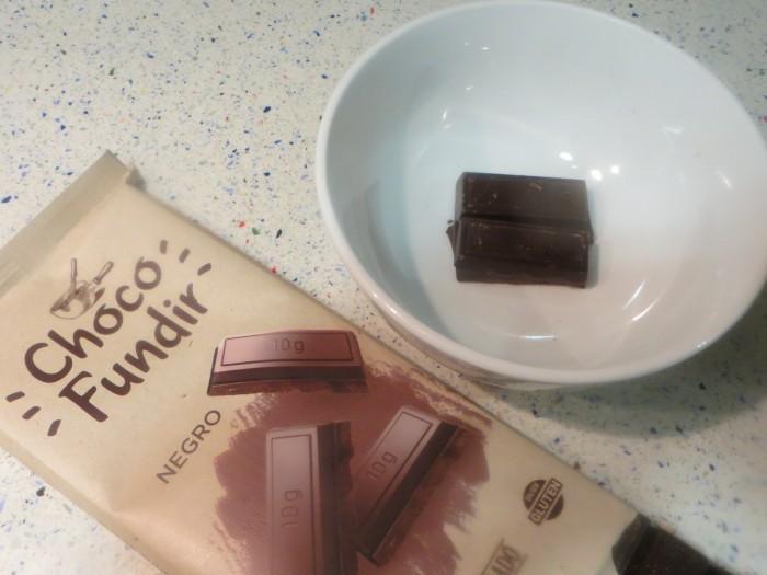 chocolate de fundir en el bol